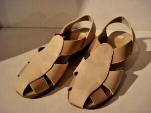 Spot On Cream Faux Leather Wedge Sandals. New With Box Size 6 EU 39.