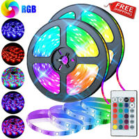 32.8ft 16.4ft RGB LED Light Strip 5050 LED Tape Lights with Remote and Control