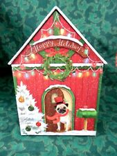 "Punch Studio~Doghouse Shaped~Lift Off Roof Lid~Christmas Gift Box~5"" W x 8"" H"