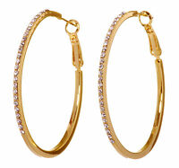 Swarovski Elements Crystal Moonlight Hoop Pierced Earrings Gold Authentic 7234w
