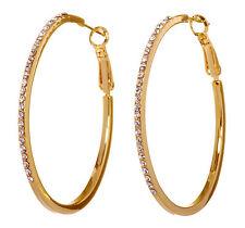 """Swarovski Elements Crystal 2"""" Moonlight Hoop Pierced Earrings Gold Plated 7234z"""