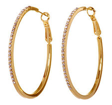 Pierced Earrings Gold Authentic 7234a Swarovski Elements Crystal Moonlight Hoop