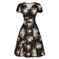 Hell Bunny Flora Black Blue Exotic Floral 1940s Retro Vintage Flared Wrap Dress