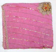 Vintage Dupatta Long Stole Georgette Hand Beaded Wedding Veil Zardozi Pink