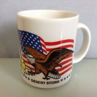 "Vintage Operation Desert Storm & Dessert Shield Eagle Flag 3.75"" Coffee Mug"