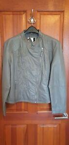 Kaleidoscope Embroidered Leather Short Jacket Grey Size UK 22