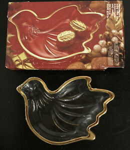 Peace Dove Clear Glass trim in gold Candy Dish with Box  Japan