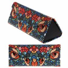 Portable Handmade Glasses Cases Triangular Foldable Magnetic Leather Bin Holders