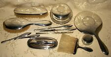 RARE & Beautiful Wreath & Bow Design BIRK'S Sterling Silver 13 piece Vanity Set