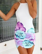 Sexy Spaghetti Strap Backless Floral Print Dress For Women, Size Medium