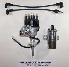 Plymouth Small Block 273-318-340-360 BLACK SMALL CAP HEI Distributor Chrome Coil
