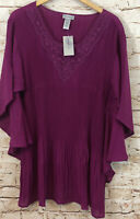 Catherines womens 4X shirt top embroidered pleated new vneck sheer sleeves A9