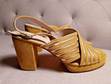 No. 6 Lola High Heel Platform Sandal Sz 11 suede mustard yellow $405