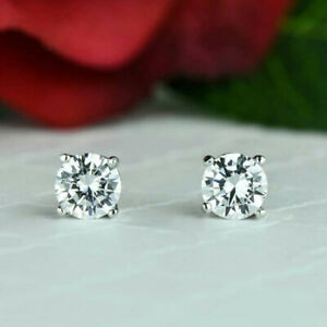 Certified 1.50 Ct Real Solitaire Diamond Earrings Stud Solid 950 Platinum Studs