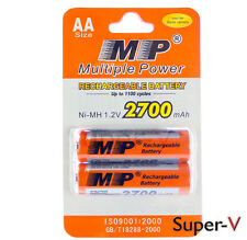 Multiple Power Rechargeable AA MP Blister Pack (2 cells) 2700mAh Ni-MH 1.2V