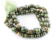 GREEN GLASS FAUX PEARL GLASS AND BRASS BEAD RIBBON THREE LINE STRETCH BRACELET
