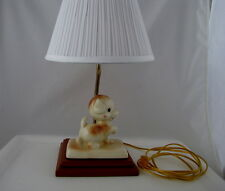 """Child's Table Lamp w Ceramic Puppy on Wood Base, 17"""" tall, 6 ft cord"""