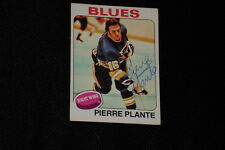 PIERRE PLANTE 1975-76 TOPPS SIGNED AUTOGRAPHED CARD #309 BLUES