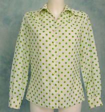 VtG 70s DiScO Poet LiMe Green Polka Dot BiG Collar Crepe Dress Top Blouse M/L