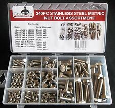 240pc GOLIATH INDUSTRIAL SSMNB240 STAINLESS STEEL METRIC NUT BOLT ASSORTMENT