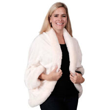 Le Moda Women's Polyester Faux Fur Shawl Coat In Ivory White One Size Fits Most