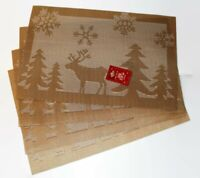 Set of 4 Large Christmas Placemats Dinning Room Jacquard Table GOLD REINDEERS
