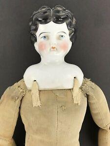 "Antique 1800s German Doll Porcelain Head Shoulders & All Cloth Body 16"""
