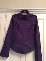 Hawes & Curtis Ladies Fitted Blouse Size 8 In Purple