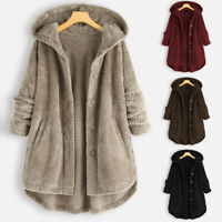 Women Winter Fleece Lined Hooded Jacket Parka Button Coat Jacket Outwear UK