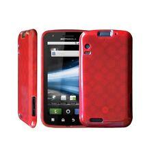 housse étui coque silicone en gel rouge pour Motorola Atrix + film de protection