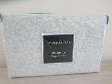 Laura Ashley Penelope Paisley 100% Cotton Blue Tan White Queen Sheet Set $180