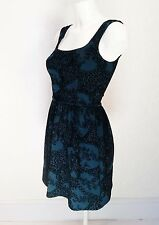 Miss SELFRIDGE black Velvet -Turquoise Mini Sleeveless Skater dress sundress s 4