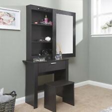 Large Dressing Table Storage Mirror Set Black Bedroom Furniture Modern Vanity