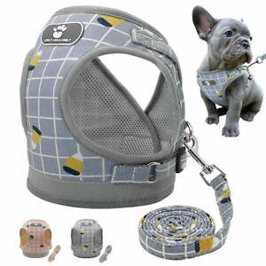 Reflective Puppy Dog Harness & Leads Breathable Mesh Bulldog Vest Leash Safe Set