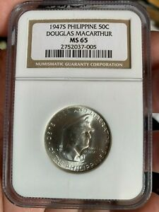 PHILIPPINES 1947 FIFTY CENTAVO DOUGLAS MACARTHUR COMMEMORATIVE COIN NGC MS 65