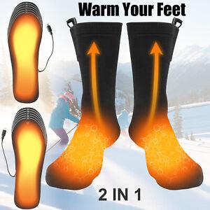 Men USB Electric Heated Shoe Insoles Pad Feet Heater Foot Warm Sock Skiing Snow