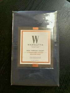 Wamsutta 620 Thread Count 100% Egyptian Cotton Standard Queen Pillowcases Blue