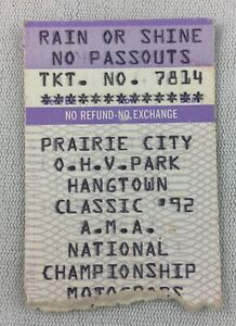 1992 Prairie City Hangtown Classic AMA Nat'l Champ Motocross Race Ticket Stub