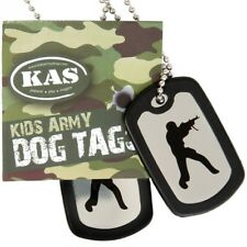 KIDS SOLDIER DOG TAGS ARMY ID TAG NECKLACE GIRLS BOYS FANCY DRESS SILENCERS