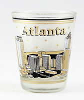 ATLANTA GEORGIA BLACK & GOLD SKYLINE SHOT GLASS SHOTGLASS