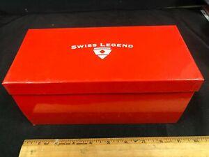 AUTHENTIC NEW RED SWISS LEGEND DESIGNER RETAIL WATCH BOX & WINDER CASE M
