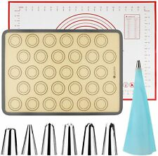 Silicone Baking Mat Bundle 10-Piece Set, 2 Mats 6 Tips 1 Converter & 1 EVA Bag