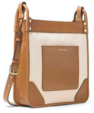 NEW $328 Michael Kors Sullivan Natural Leather Large Messenger Crossbody Handbag
