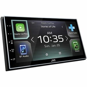 """JVC Double Din 7"""" Apple CarPlay/Android Auto Receiver with Bluetooth, FM/AM &..."""