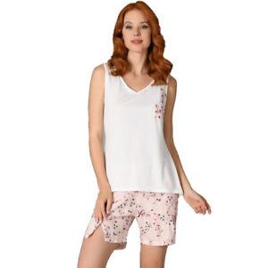 Damen Schlafanzug Pyjama Kurz Nachtwäsche Zweiteiliger Sommer-Set 66675