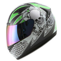 NEW 1STORM DOT MOTORCYCLE STREET BIKE FULL FACE HELMET BOOSTER SKULL GREEN HG335