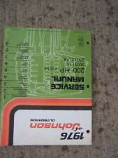 1976 Johnson Outboard Motor Service Manual 200 Hp Model 200Tl76 200Txl76 Boat L
