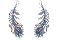 Peacock Feather Drop Brushed Earrings Turquoise Inspired Rhinestone Drops Studs