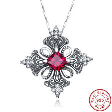 Charm Jewelry Cross Ruby White Topaz 925 Sterling Silver Necklace Chain Pendant