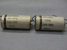 10 Vintage Aerovox .82MFD 100V Axial Paper Elect. Caps